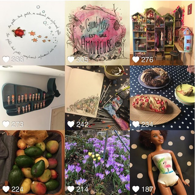 En février, vous avez aimé mes dessins, la chambre de Siloë, ma bibliothèque baleine, ma cuisine et un bricolage pour faire des maillots aux Barbie (sur mon blog). Pis vous m'avez consolée aussi... merci ! #ciloubidouille