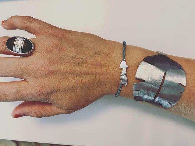 Bijoux du jour : bague berbère, bracelet renard et cuillère travaillée en bracelet (ramenée de Venise) #silvergirl