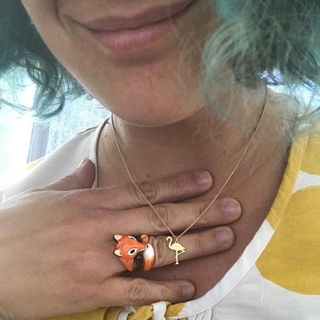 Bijoux du jour (poke @unoiseausurlabranche pour le flamant)