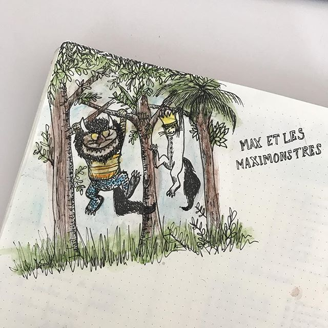 Max et les Maximonstres (et essai de crayons aquarelles). Plus sur mes stories. Ca vous plait ? #ciloudrawings #ciloubidouilledrawing #maxetlesmaximonstres