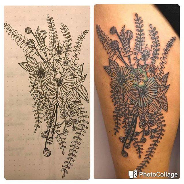Il y a quelques jours de cela, j'ai eu une drôle de surprise ! Quelque chose qui m'a super émue !! J'avais dessiné le gribouillage à gauche pour une de mes lectrices, qui m'avait demandé de lui faire une proposition pour un tatouage. Et elle l'a fait !!!! Mon dessin est maintenant sur sa cuisse !!! Je veux dire qu'elle a mes fleurs dans sa peau pour toute sa vie ! Ce n'est pas un truc de dingue ?? #ciloudrawings #ciloubidouilledrawing #tattoo