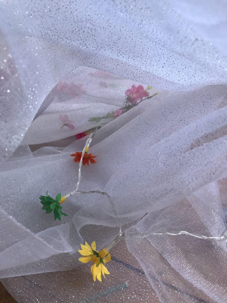 """7/""""*1Y Brodé Floral Tulle dentelle ~ Blanc Rose ~ Rose Sourire ~ Jolie ~ À faire soi-même//Poupée ~"""