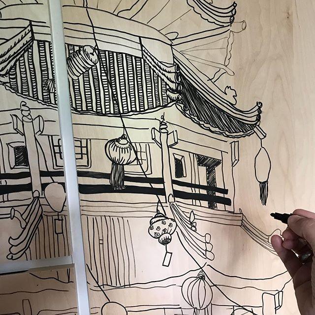 Projet en cours dans la chambre de Maëlle #ciloudrawings #ciloubidouilledrawing #chinesetemple #ciloubidouille