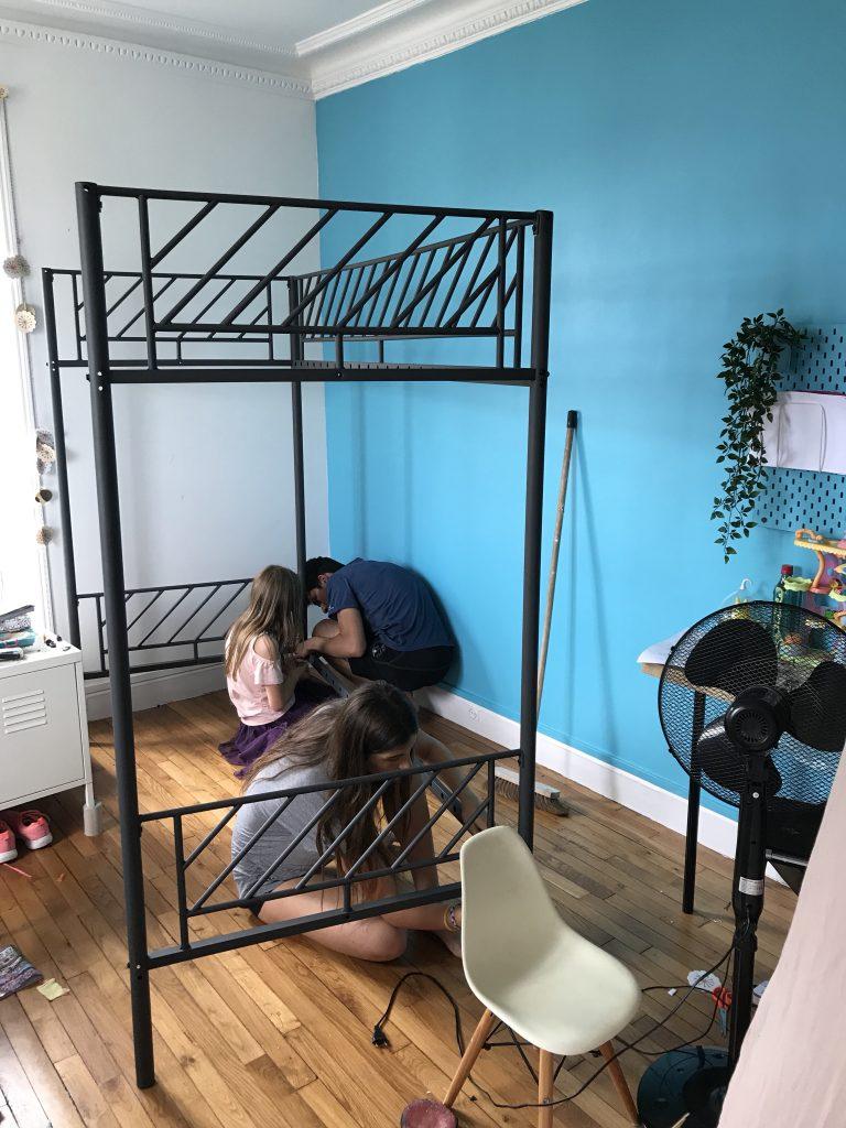 chambre d'enfant créatif - montage lit superposé