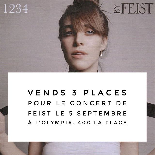 Post éphémère : ma copine @zizoune_bijoue vend trois places pour le concert de Feist qui a lieu mercredi 5 septembre à l'Olympia. Elle vend les places 40€ chacune au lieu de 55€. Ce sont des places assises en catégorie 1. Je serai là aussi :). Si vous êtes tentés (fermement j'entends !), laissez un message. Merci :). #feist #billetarevendre #olympia #5septembre2018