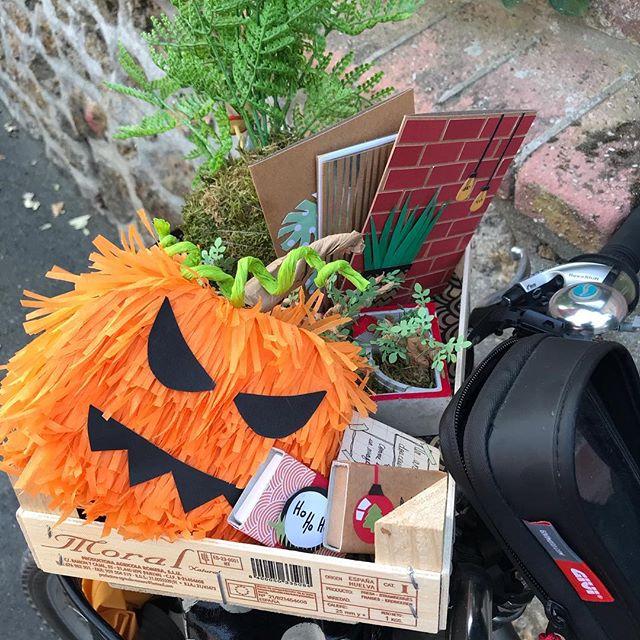 Si vous voyez passer une grande brune en vélo, avec dans son panier une piñata citrouille, un kokedama, des cartes pleines de plantes en papier et des petites boîtes à message, c'est juste une Renarde passionnée qui cherche à agrandir son terrier et proposer ses talents dans des lieux pas loin du sien :) #lesateliersdelarenarde #wishmeluck #pumpkin #piñata #ateliercreatif #atelierscreatifs #ateliercreatifparis