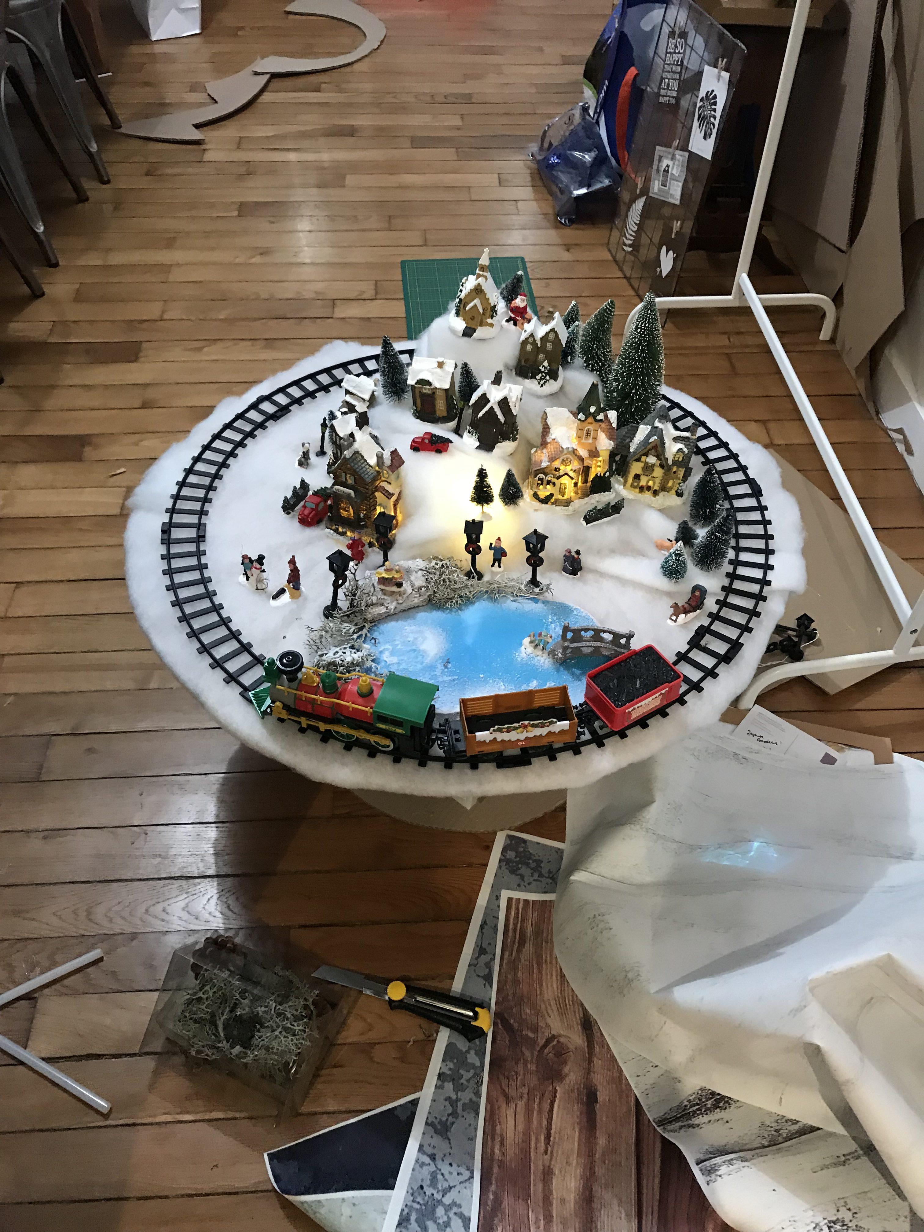 village de Noël facile : pose des décors