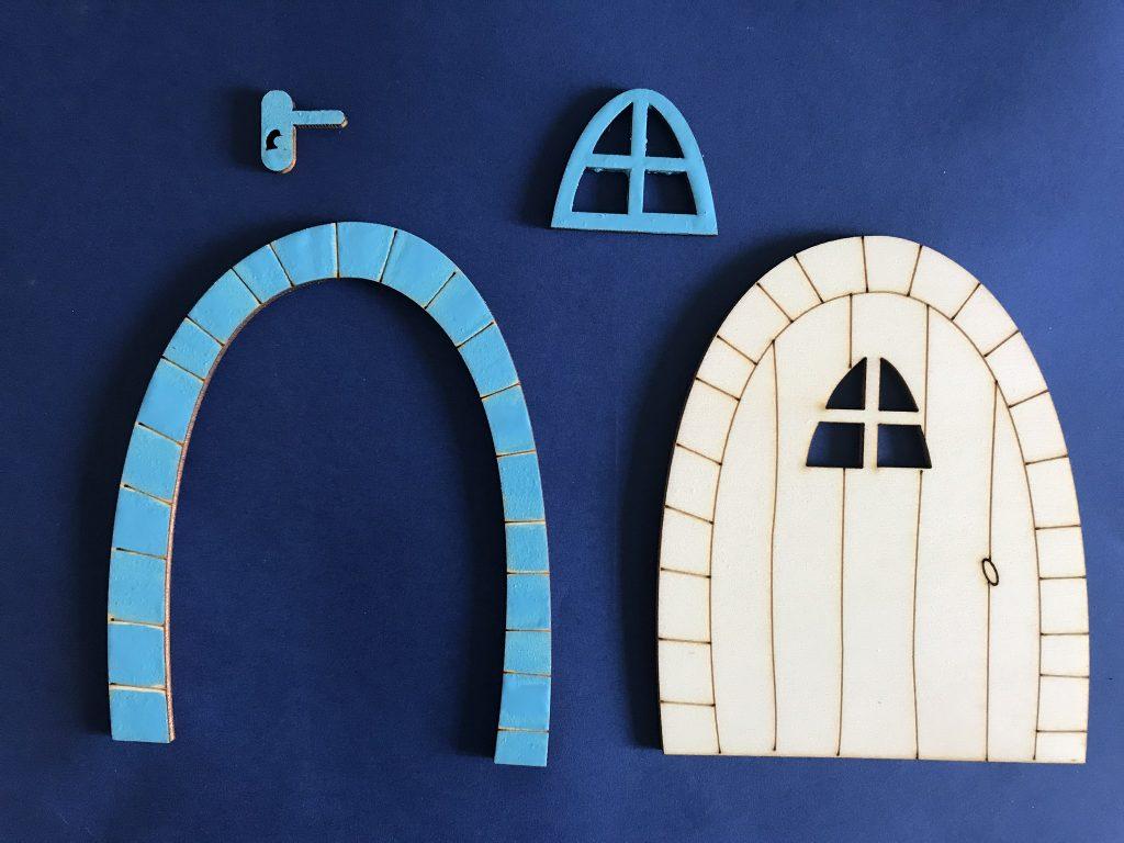 porte, arche, fenêtre en poignée en bois