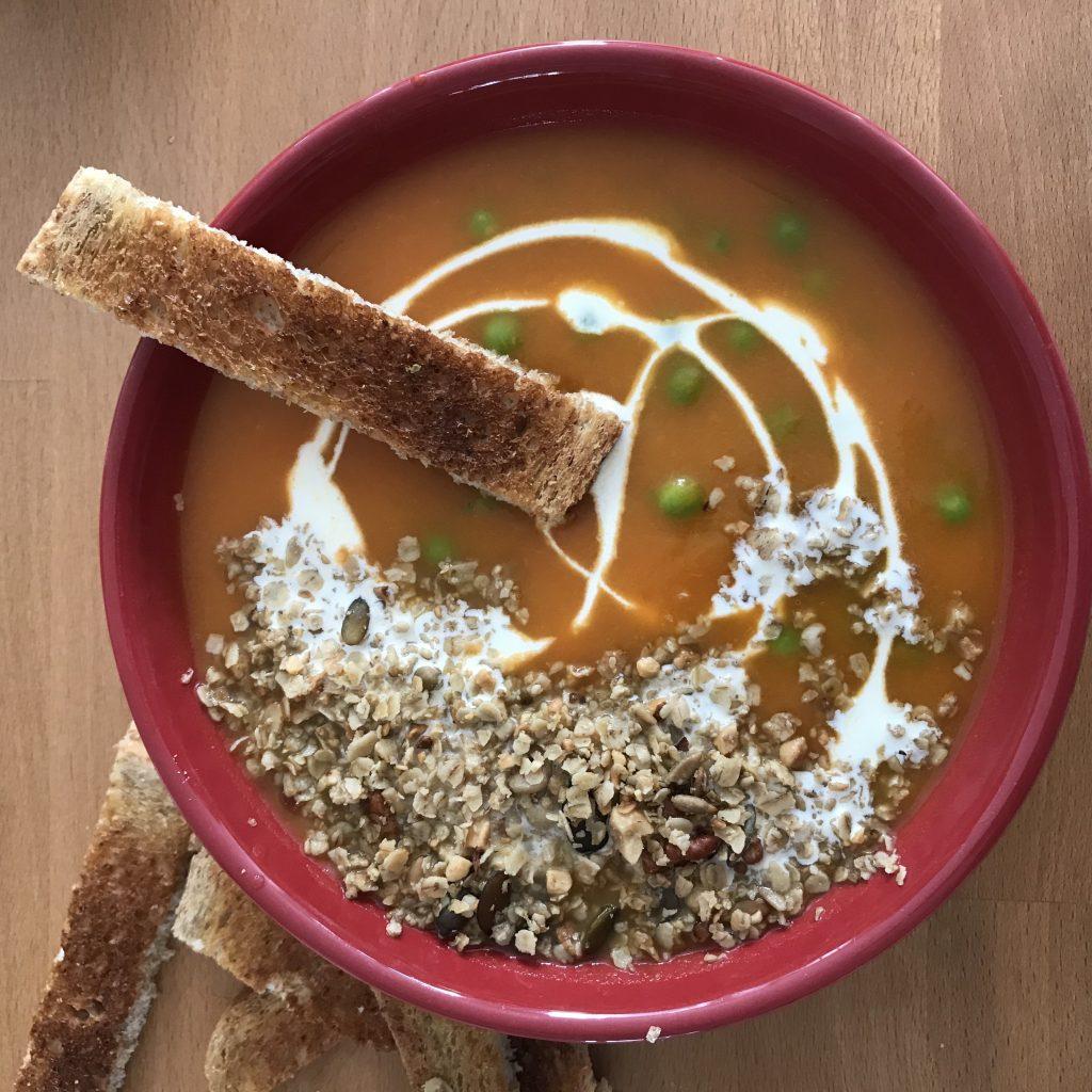 rajoutez du granola salé dans vos soupes