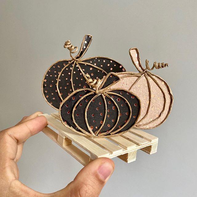 Citrouille en fil de fer krafté pour halloween