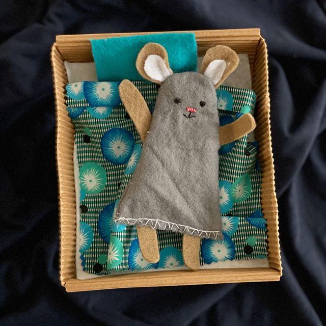 petite souris en feutrine dans sa boîte en carton
