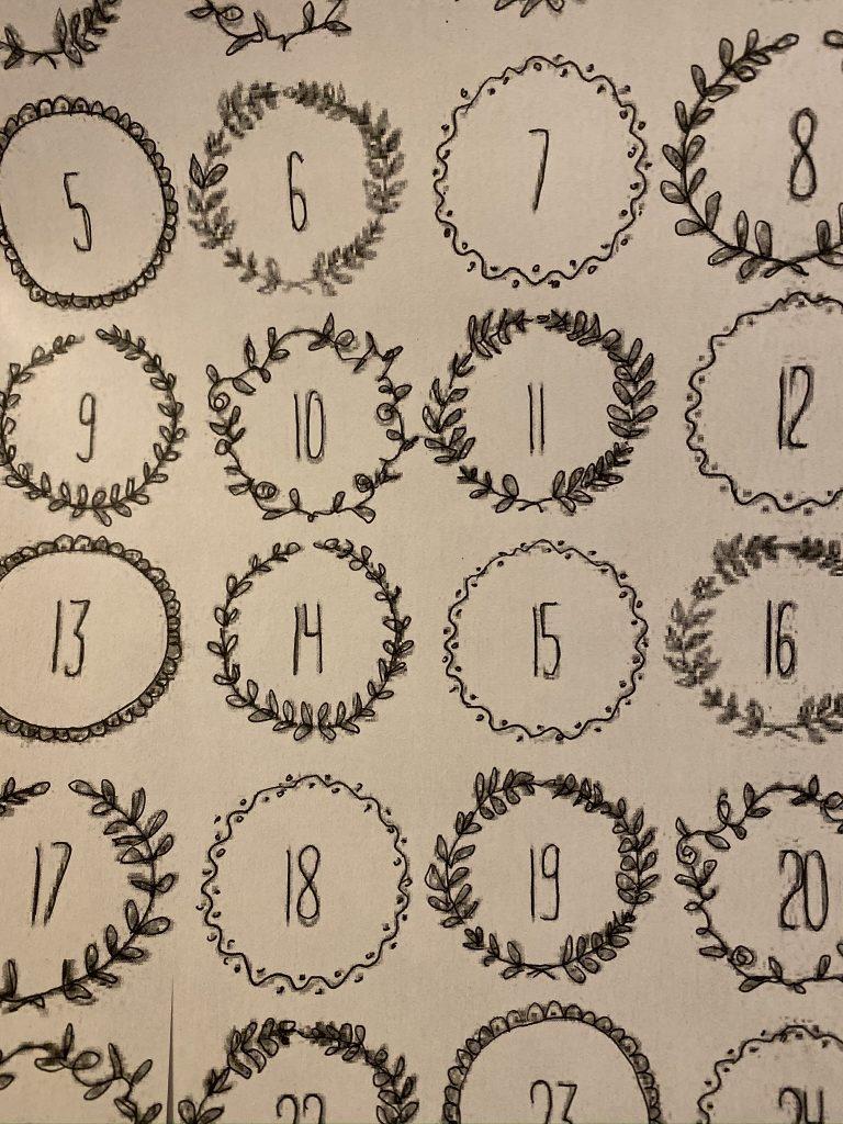 numéro pour calendrier de l'avent décoratif