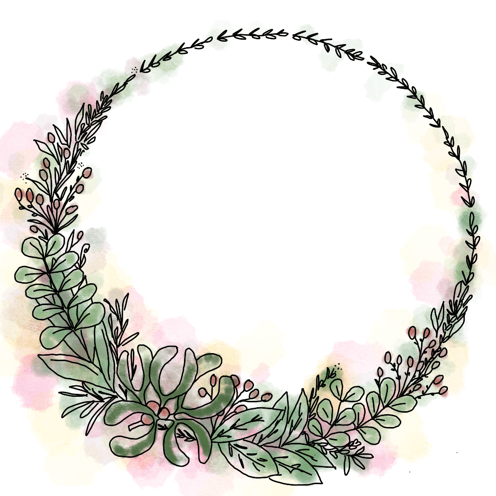 dessin cercle feuilles