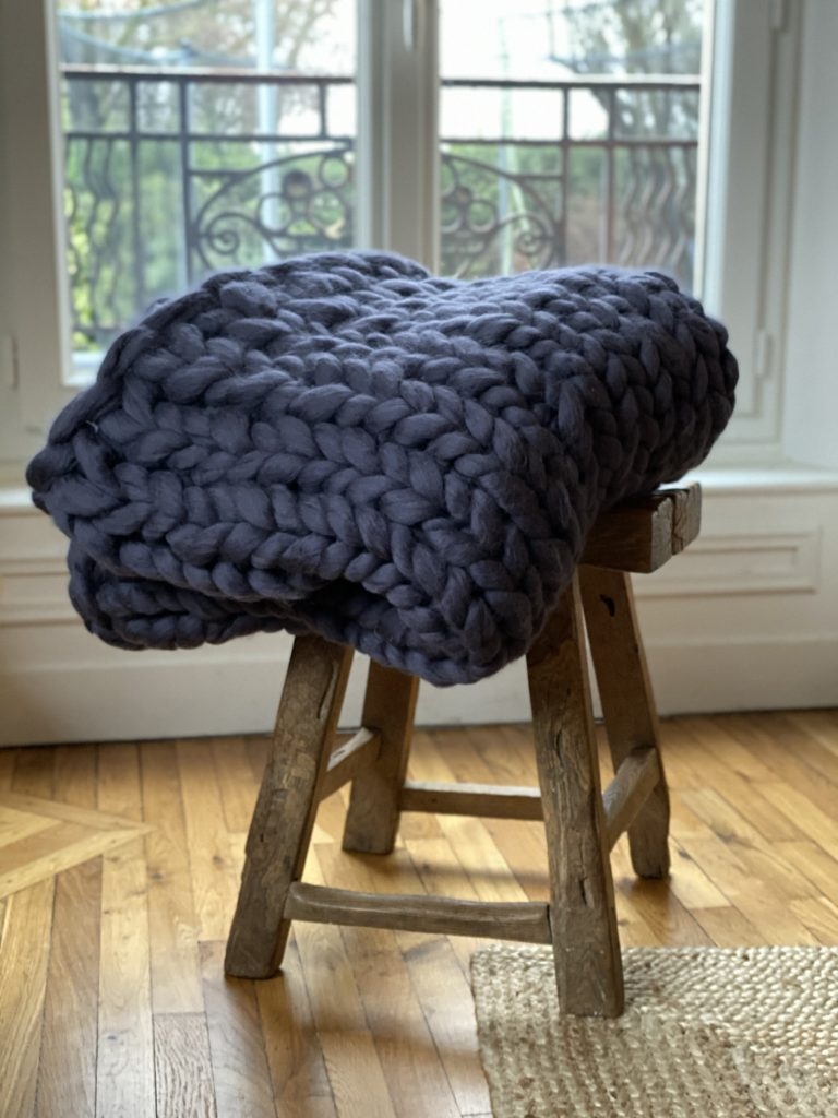 plaid à tricoter avec ses mains