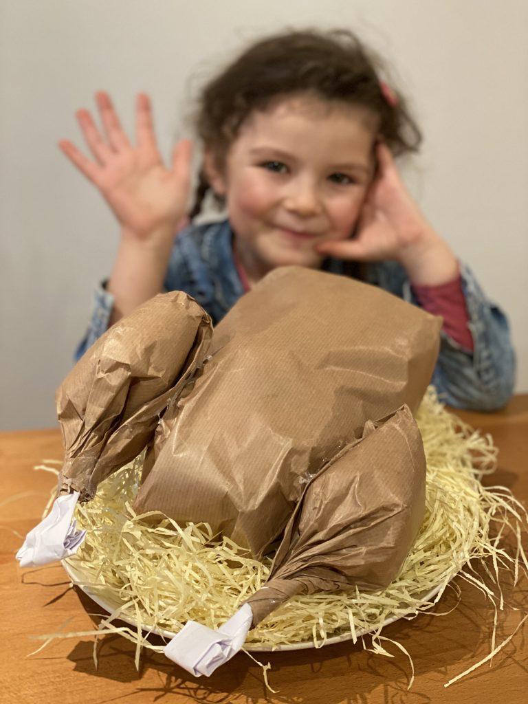 Poulet en papier surprise