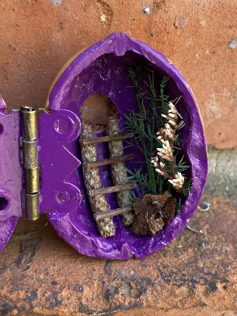 détail mini maison dans une coquille de noix