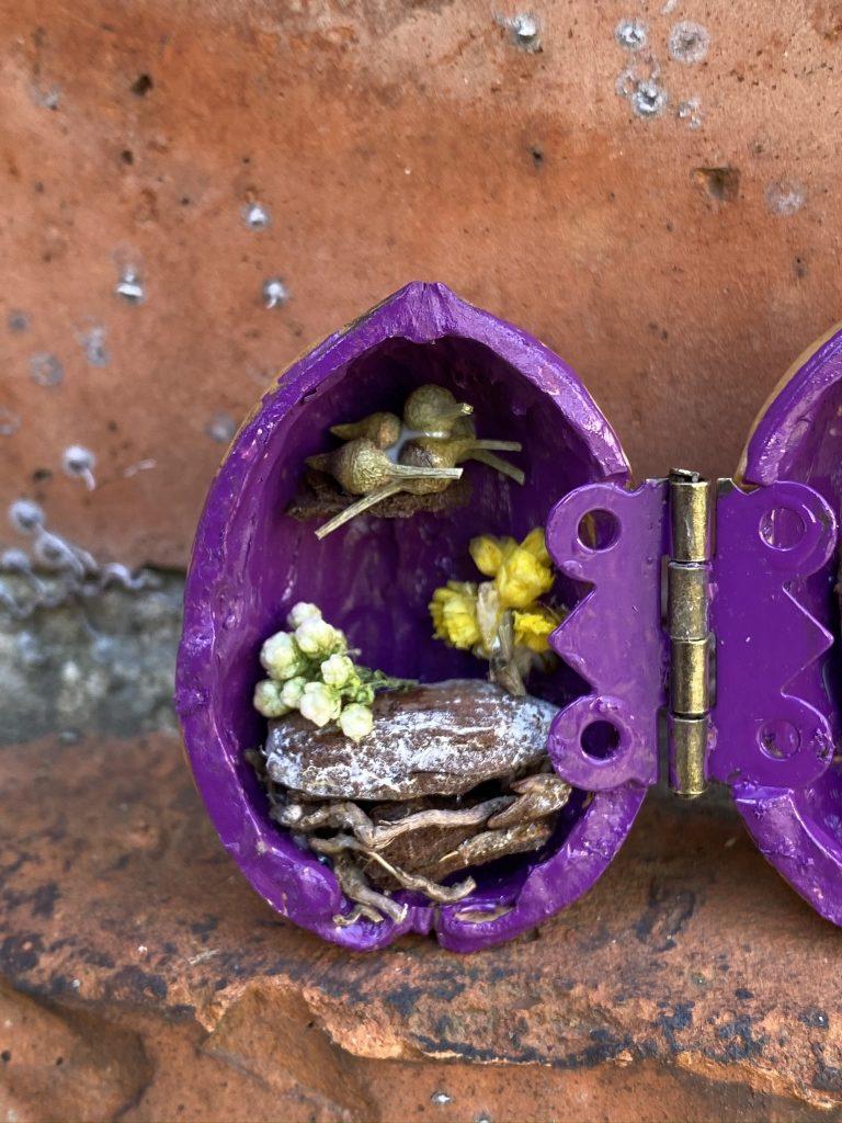 maison minature dans coque de noix
