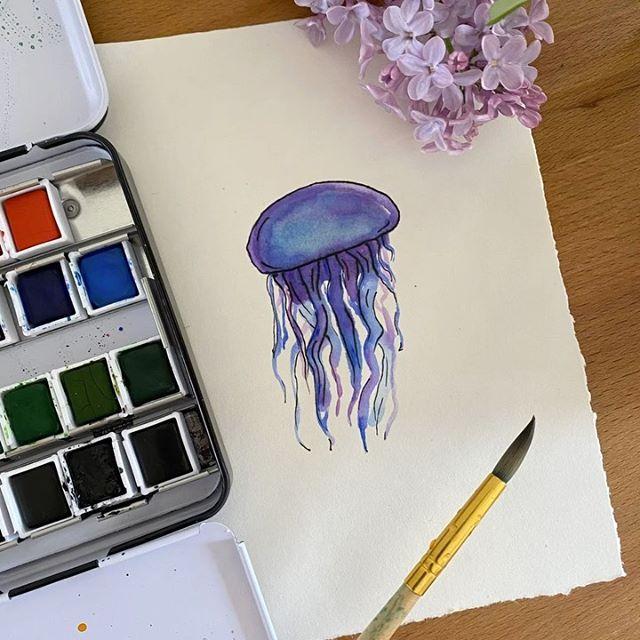 Dessiner une méduse à l'aquarelle