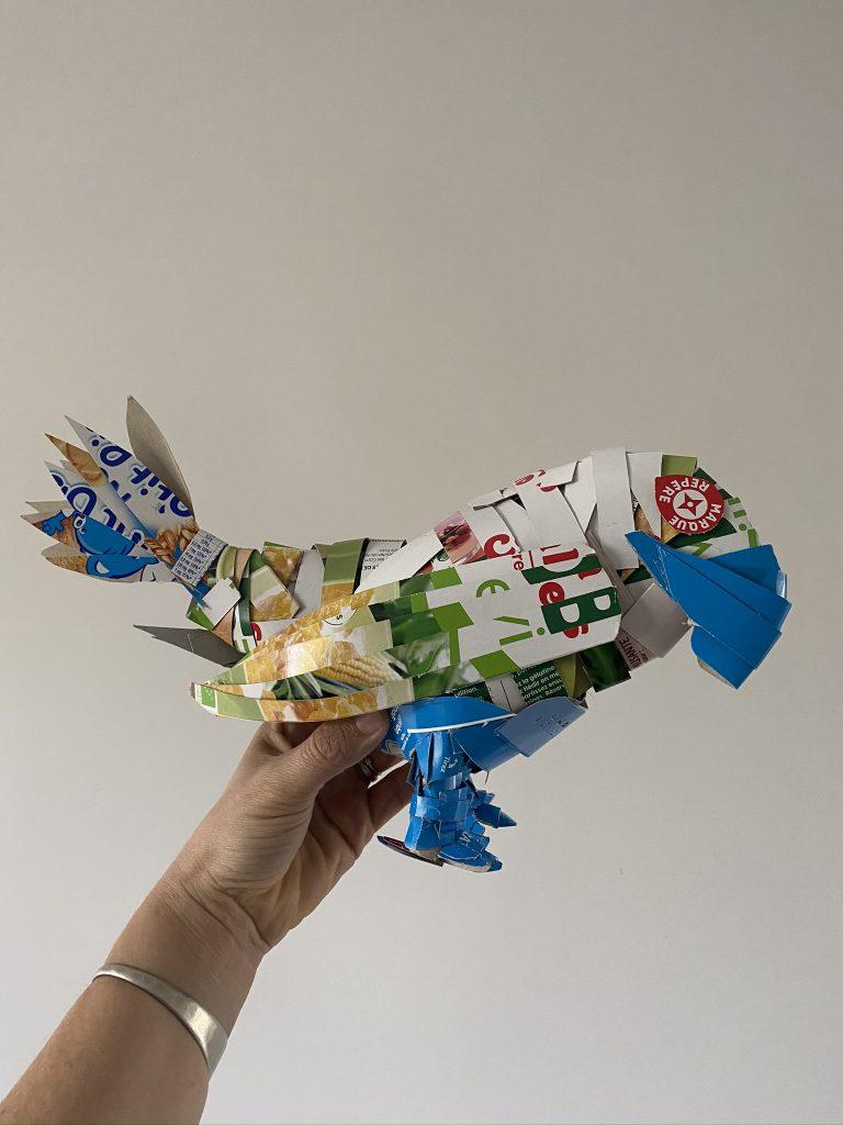 perroquet en emballage carton