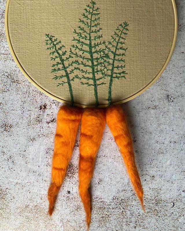 carotte laine cardée broderie