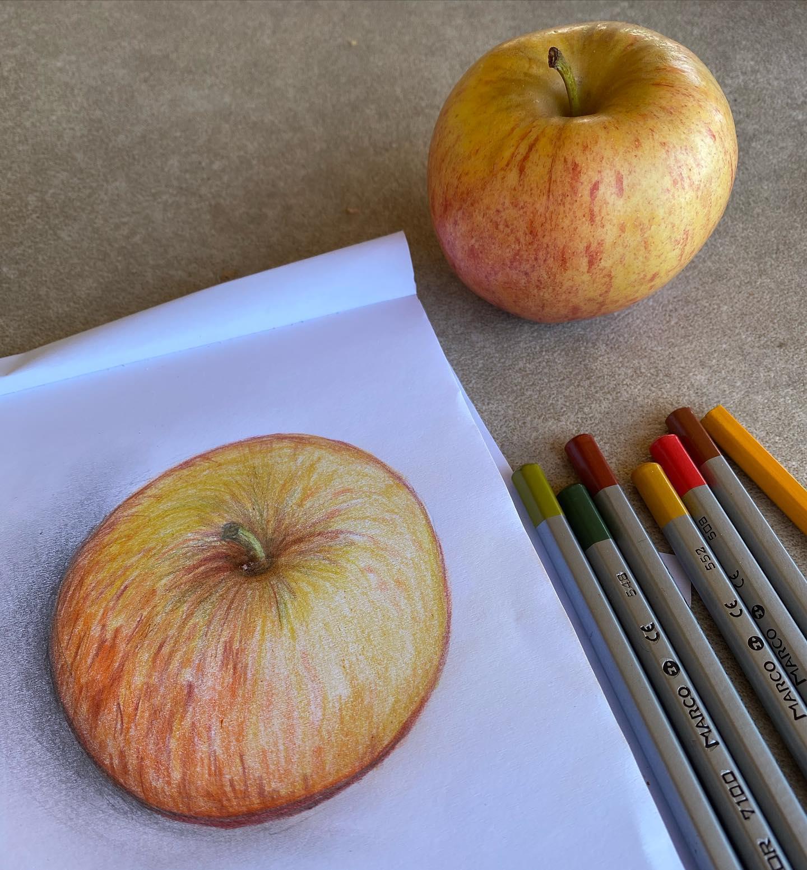 dessin pomme crayon papier