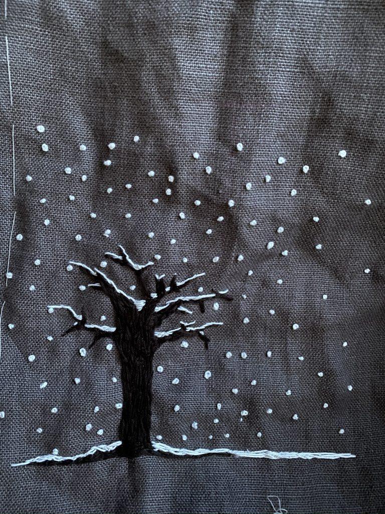 arbre brodé hiver