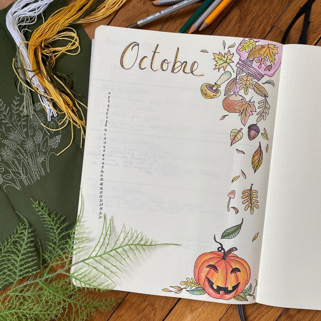 bullet journal programme d'octobre