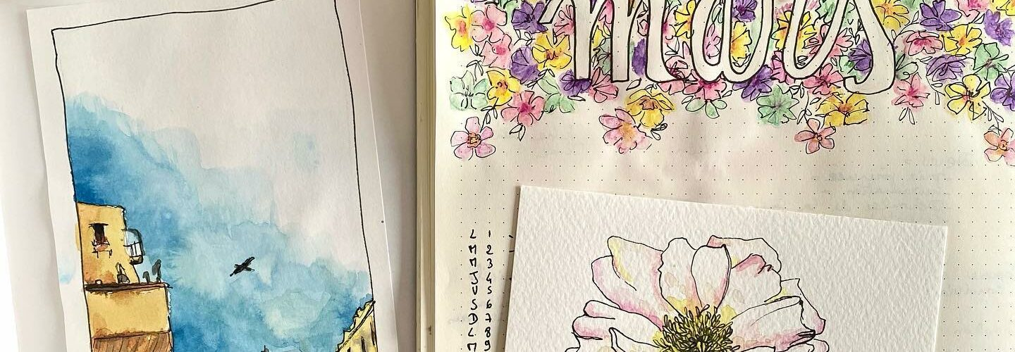 aquarelle mars bullet journal