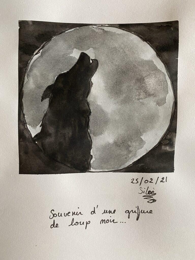 loup aquarelle