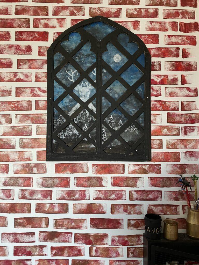 fenêtre du château de Poudlard en carton